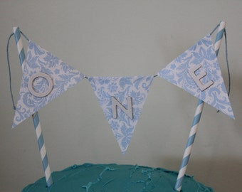Cake Topper Bunting Garland Blue and White Birthday One First Birthday Celebration Wedding Engagement  Party Decorations