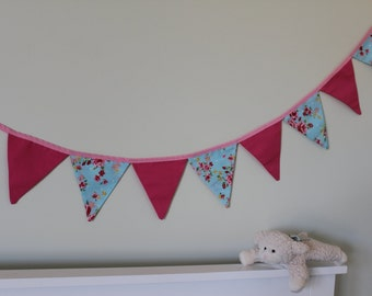 Fabric Bunting Vintage Floral Shabby Chic Style