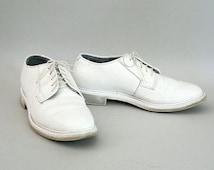 Mens White Oxfords Size 7.5 Wide