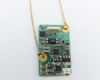Microchip necklace, one of a kind computer part necklace, long chain necklace, geeky jewelry, tech jewelry, gift for her, Computer jewelry