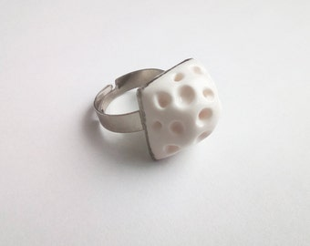White Asteroid Ring. Fantasy Polymer Clay Square Ring