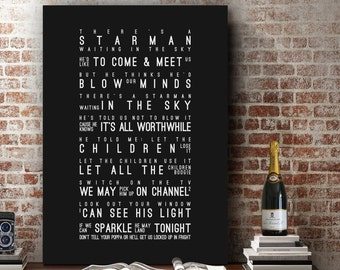 David Bowie Starman Inspired Lyrics Song Wall Art Song Lyrics Home Decor Anniversary Wedding Gift Typography Lyric PRINT