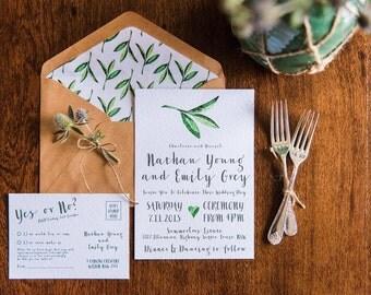Watercolour Leaf Wedding Invitation Suite
