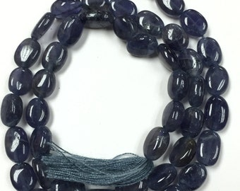 Iolite Smooth Oval, 5x7mm size, 14 Inch Strand