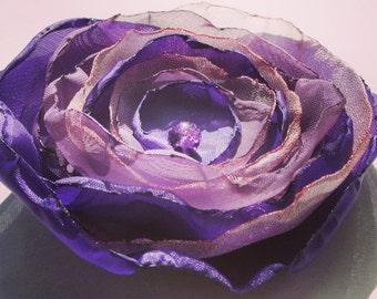 Purple FABRIC FLOWER, Handmade Fabric Flower, Brooch, Purple Flower Brooch, Clothes, Jewellery, Purple Flower, Wedding Brooch