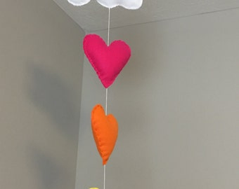 Hearts and cloud felt mobile, baby decor, hot pink, orange, yellow