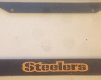 pittsburgh steelers football black with yellow automotive license plate frame