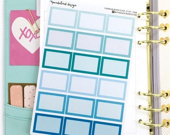 Half Box Planner Stickers | Back to Basics -SQ Turquoise