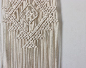 Handmade Macrame Wall Hanging Wall Decor Boho Chic Wall Art Aztec Bohemian Creme Cotton Organic Yarn Tapestry Weave Crochet Knotted Wedding