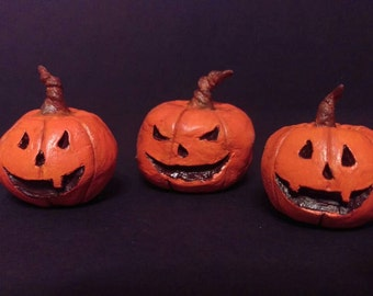 Small Jack-O-Lantern Figurines. Set of 3