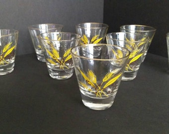 Autumn Gold Wheat pattern. Set of 8 lowball glasses. Homer Laughlin.