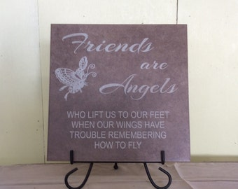 "Friends Are Angels Laser Engraved Tile 11.75"" x 11.75"""