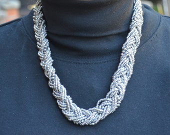 Silver Color Multistrand Braided Beaded Necklace