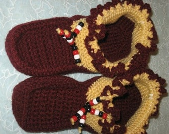 Seminole Moccasins, Gold and Burgundy with black, red, white pony beads.
