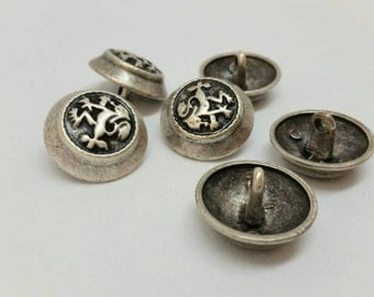 6 Metal Buttons- 22 mm,Vintage Shank Buttons