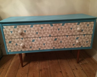 SOLD - COMMISSIONS AVAILABLE - Upcycled spray-painted/decoupage retro dresser