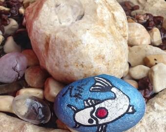 Koi fish lucky charm stone japanese on holy land rock