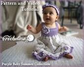 Video Tutorial Pattern - Crochet Purple Pineapple Dress Pattern - Purple Baby Summer Collection