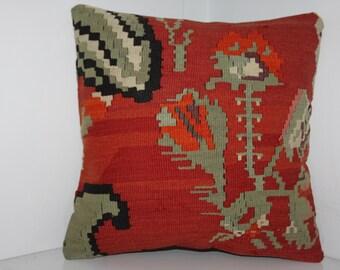 "Handmade Kilim Rug Pillow Case Decorative Pillow Vintage Kilim Pillow Cover 16"" x 16"" Kilim Cushion Cover Caucasian Kilim Pillow"