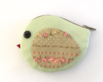 Bird coin purse ; light green with floral wings, bird pouch, ear bud pouch, coin purse
