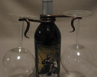 Hand forged wine glass holder