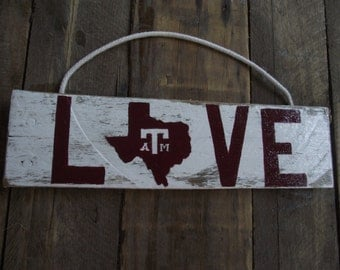 Texas Aggies sign | Texas A & M college football sign | Texas Dorm football wall decor | Rustic Pallet football sign