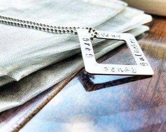 Sterling Silver Squared Washer Pendant, Hand Stamped