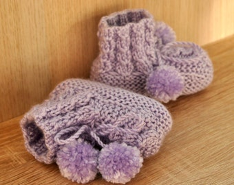 Violet knit baby bootees, child hand knited shoes, newborn booties, 0-24 month