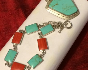 925 Silver, turquoise and gemstone Pendant and Bracelet