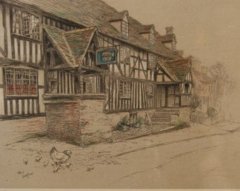 Pair Framed Cecil Aldin 1920s Old Inns Prints: The Old Talbot at Chaddesley Corbett and The George Inn at Norton St Philip