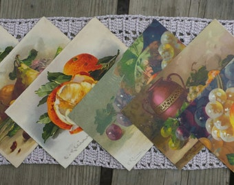 Lot 6 postcards with painted fruit vintage n2
