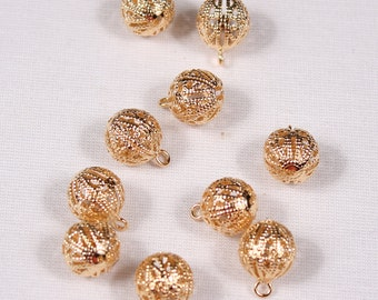 10 buttons, 5mm or 10mm, metal, gold, Shank (3706)