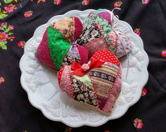 Set of 3 Valentine Heart Sachets:  crazy quilt patchwork with rosy potpourri insert