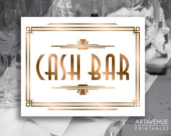 art deco printable art cash bar sign gatsby wedding bar gatsby party