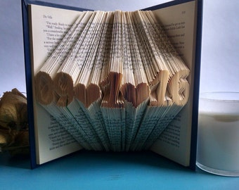 Folded Book Featuring a Custom Date - Beautiful Art Gift for the Book Lover