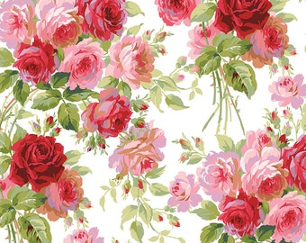 Rose - Per Yd - Roses on White - Beautiful - by Anna Griffin