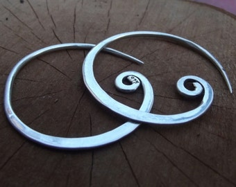 925 Sterling silver hoop earrings, simple spiral silver hoops, tribal silver earrings, spiral gauge earrings