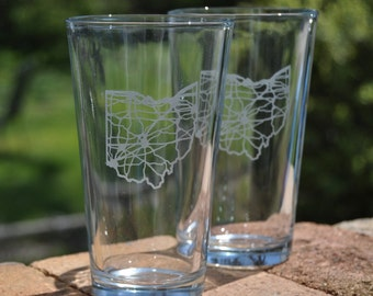 Ohio map pint glass