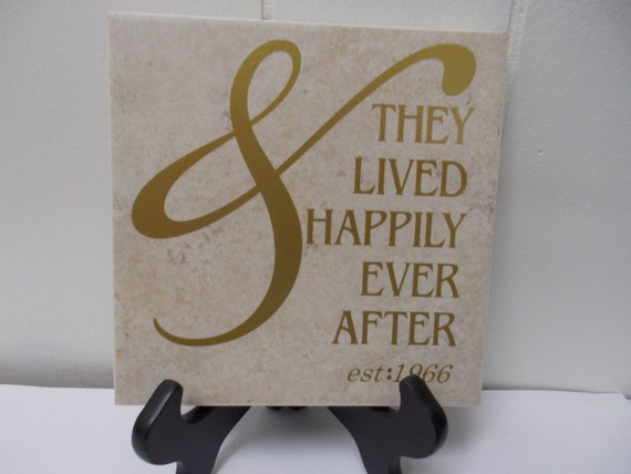 Personalized Anniversary Decal on a tile 50 years Golden or 25 years Silver