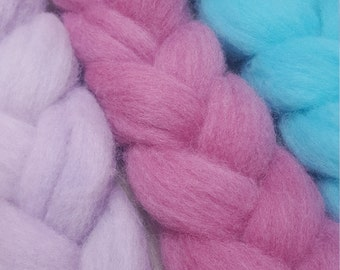 50g pastel mixed fleece roving spinning felting fibre hand dyed