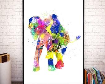 Elephant Safari Animals Watercolor. Elephant Watercolor Print. Beautiful decor for all. Animal Poster. Animals Watercolor Art. Safari Art