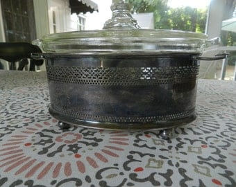 Petite Silver Casserole with Pyrex Dish