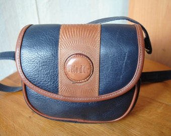 Vintage Tete d'Or small navy brown faux leather oval shoulder bag cross body bag