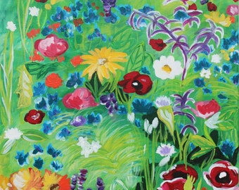 Garden Flowers Print of Original Acrylic Painting-8x10