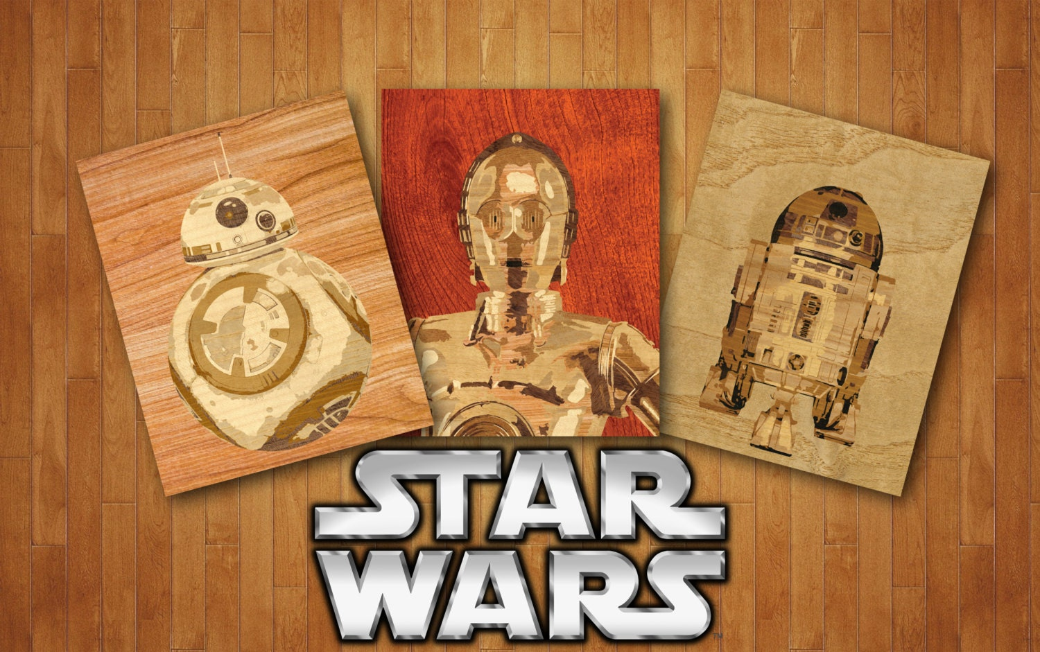Star wars wooden robots home decor home art entry way print for Star wars home decorations