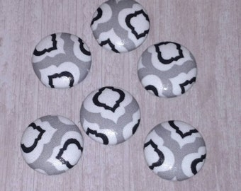 Gray black white MODERN fabric magnets - fridge magnets - dorm decor - memo board magnets - locker magnets -kitchen decor - strong magnets