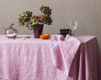 "Pure linen washed tablecloth ""Banquet"" // 140 x 250 cm // lilac shade // best quality european linen // casual look // froissé fabric"