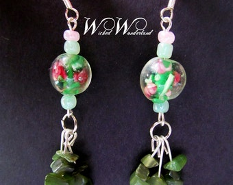 Glass and Natural Stone Earrings