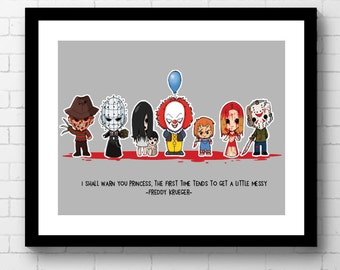 Horror Movie Parody Wall Print, Freddy Krueger, Pinhead, Grudge, Pennywise, Chucky, Carrie, Jason Voorhees