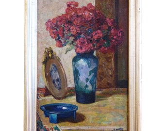 Crimson Roses by Alfred Martin Oil on Canvas Dated 1919